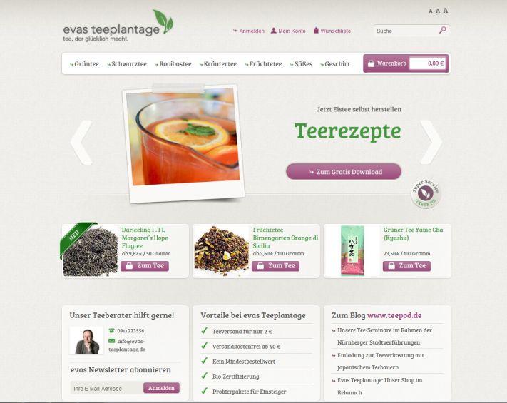Evas Teeplantage: Unser Shop im Relaunch