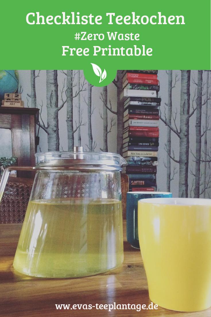 Checkliste Tee kochen zero Waste Printable