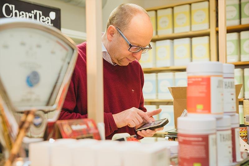 Drucken des Adressetiketts für das Teepaket